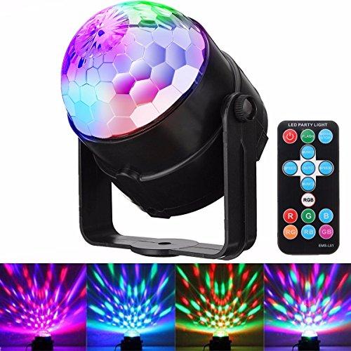 DJ Disco Lights, GLISTENY Disco Ball Light Sound Activated Strobe Light 7 Color RGB 15 Keys Remote Control Portable Mini Magic Lamplight Rotating Effect Party Light for KTV Karaoke Dance (Motion Activated Halloween Mirror)