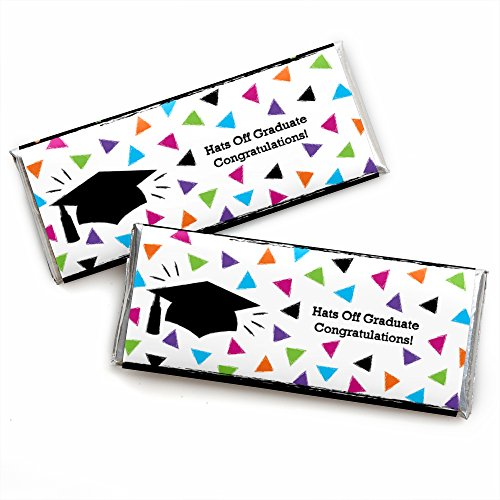 Hats Off Grad - Graduation Party Candy Bar Wrappers Party Favors - Set of 24