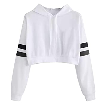 ee7a6fa1154779 Hoodies Crop Top for Teen Girls, Iuhan Women's Girl's Casual Solid Long