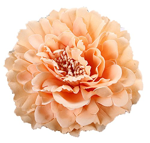 Floral Fall Peony Flower Hair Clip Flamenco Dancer Pin up Flower Brooch HC-01 (Champagne)