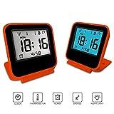 Travel Clock, KRASR Digital Alarm Clock, Portable Battery Operated Desk Clock with Calendar & Temperature (Orange)