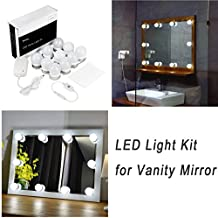 Hollywood Style LED Vanity Mirror Lights Kit for Makeup Dressing Table Vanity Set Mirrors with Dimmer and Power Supply Plug in Lighting Fixture Strip, 13.5 Foot, Mirror Not Included