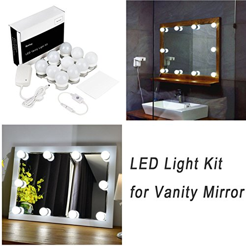 Hollywood Style LED Vanity Mirror Lights Kit for Makeup Dressing Table Vanity Set Mirrors with Dimmer and Power Supply Plug in Lighting Fixture Strip, 13.5 Foot, Mirror Not Included (And Desk Mirror Lights With)