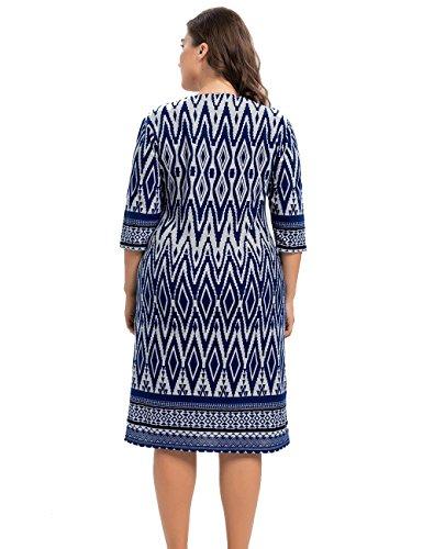 Azul Cachemira de de Rodilla la Longitud Estampado Chicwe con Elástico Grandes Mujeres Tubo Vestido Casual Tacto en a Zigzag Oficina Vestido Tallas wv1w8
