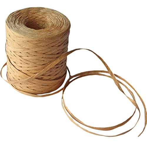 Creatrill 218 Yards Raffia Paper Craft Ribbon Packing Paper Twine, 1/4 Inch by 218 Yards - Tan Raffia