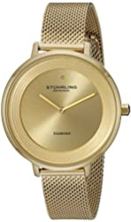 Stuhrling Original Women's 589.03 Symphony Gold-Tone Stainless Steel Diamond Watch