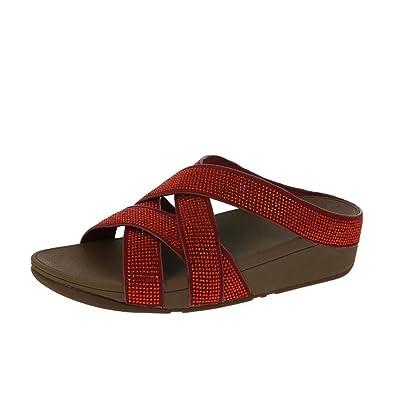 37ec4f870a55 FitFlop Slinky Rokkit Criss-Cross Slide Sandals Poppy Red UK4 Poppy ...