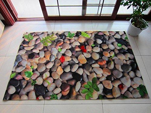 Stone Stamp Pads - DIDIDD Anti-Skid Foot Pad 3D Lotus Fish Three-Dimensional Pattern Stamp Corridor Entrance Door Entrance Carpet Door Mat,3D Small Stones,45Cm×70Cm