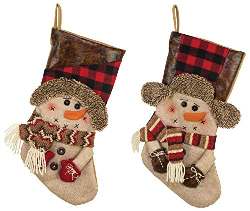 Hanna's Handiworks Country Pine Snowmen 18 Inch Fabric & Leatherette Christmas Stockings Assorted Set of 2 ()