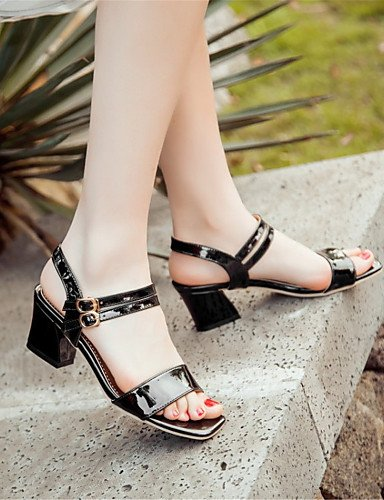 LFNLYX Zapatos de mujer-Tacón Robusto-Tacones-Sandalias-Boda / Vestido / Casual / Fiesta y Noche-Cuero Patentado-Negro / Rojo Red