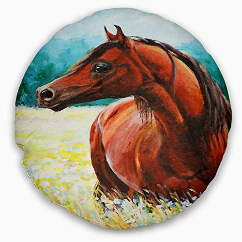 Designart CU13315-20-20-C Brown Arabian Horse Painting' Abstract Throw Cushion Pillow Cover for Living Room, Sofa, 20'' Round, Pillow Insert + Cushion Cover Printed on Both Side by Designart