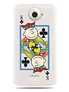 GRÜV Premium Case - 'Peanuts Charlie Brown King Card' Design - Best Quality Designer Print on White Hard Cover - for HTC G23 One X XL X+ Plus S720e