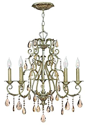 Hinkley 4775SL Crystal Accents Five Light Foyer from Carlton collection in Pwt, Nckl, B/S, Slvr.finish,