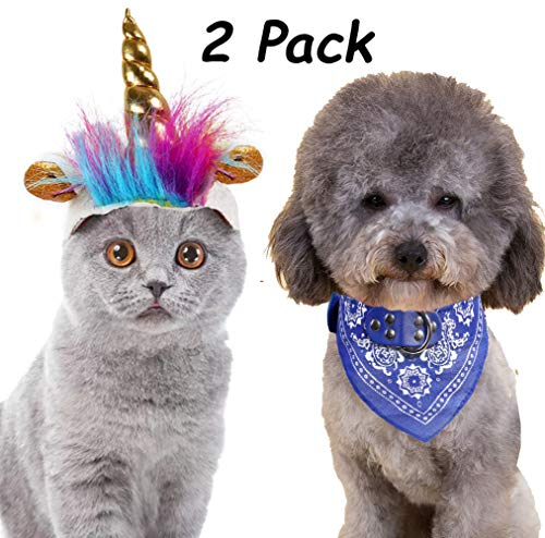 2 Pack Unicorn Hat Costume for Cats Small Dogs Bandana Pet Unicorn Costume with Free Bandana for Small Dogs Cats Cosplay Costume Dress up Accessories for Pets Halloween Party -