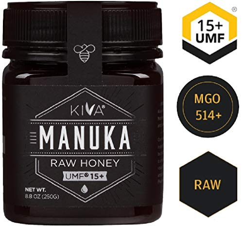 Kiva Raw Manuka Honey, Certified UMF 15+ (MGO 514+) - New Zealand (8.8 oz) (Does For Mask What Stand)