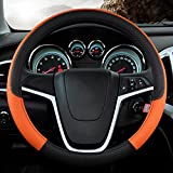 Kevin Car Steering Wheel Cover Genuine Leather,Universal 15 Inch/38CM Breathable Anti-Slip Protector For Auto , black and orange