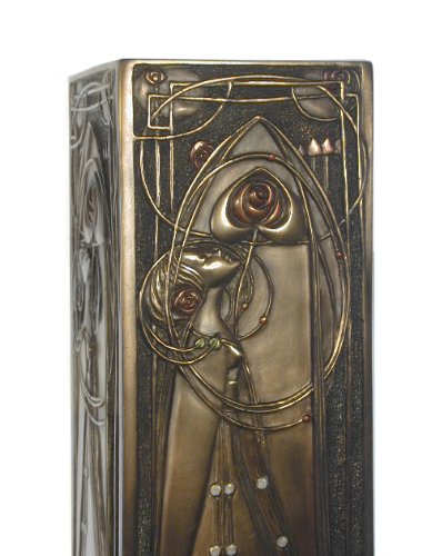 StealStreet 11.5-Inch Tall Look Roses Curvilinear Art Nouveau Vase Pewter