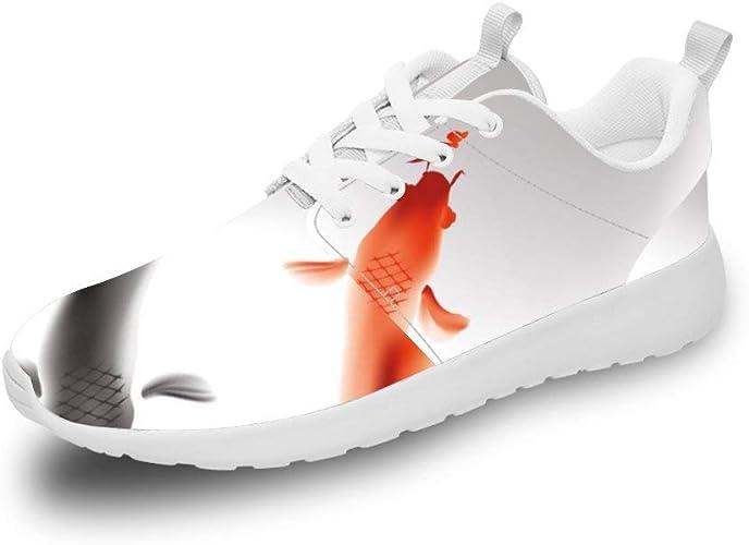 Mesllings Zapatillas de Correr Unisex con Pintura China, Pintura de Koi, Pintura de Tinta, Zapatos Deportivos Ligeros para Exteriores: Amazon.es: Zapatos y complementos