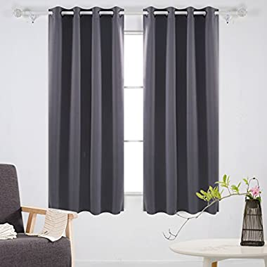 Deconovo Home Decorative Room Darkening Curtains with Grommet Thermal Insulated Blackout Curtains for Bedroom 52W x 63L Inch Dark Grey 2 Panels