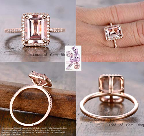 (Emerald cut Morganite Engagement ring,Pave diamonds 14K Rose Gold, 8x10mm)