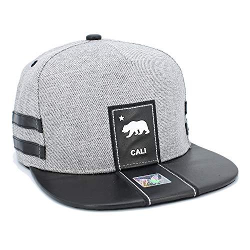 LAFSQ California Republic Bear Logo Rubber Patch Flat Bill Snapback Cap, 100% Cotton (2LINE/Hgrey/Black Brim)
