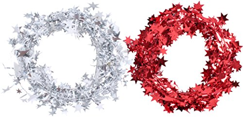 (Seventopia Wired Star Garland Christmas Tree Decorations Silver Red Ornaments 24.5 Feet for House Office Christmas Party, 2)