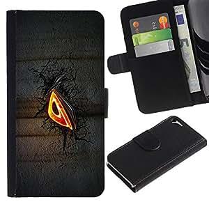 All Phone Most Case / Oferta Especial Cáscara Funda de cuero Monedero Cubierta de proteccion Caso / Wallet Case for Apple Iphone 5 / 5S // Evil Eye Glow