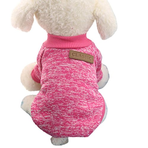 Pet Apparel HCFKJ Pet Dog Puppy Classic Sweater Fleece Sweater Warm Sweater Winter (XL, Hot pink) (Viking Clothes For Sale)