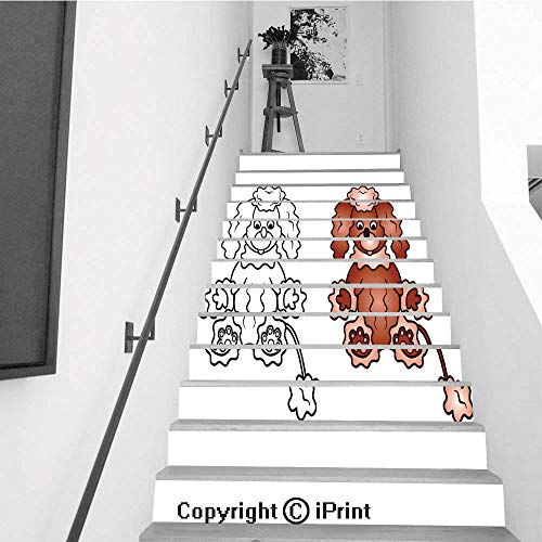 baihemiya stickers 13Pcs Stair Sticker Decals 3D Creative Building Stair Risers Tiles Wallpaper Mural Self-Adhesive,Curly Puppy of a Poodle Dog