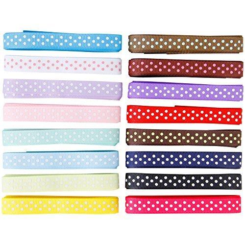 1 Yard Grosgrain Ribbon - Femitu Polka Dot Grosgrain Ribbon-16 Colors of 3/8