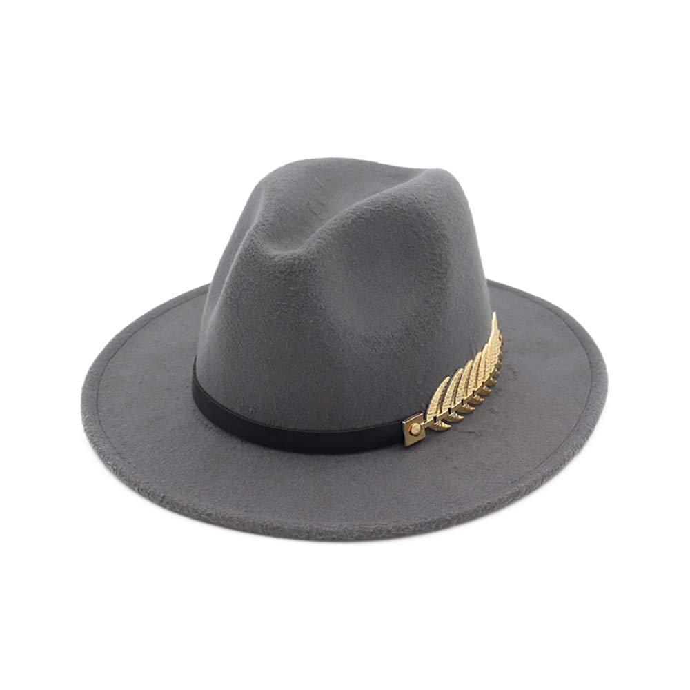 B.J. Women's Wide Brim Wool Floppy Panama Hat with Belt Buckle Fedora Hat Grey by B.J. (Image #1)