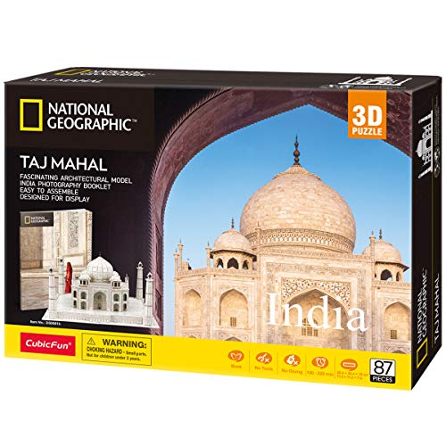 CubicFun National Geographic 3D Puzzle for Adults Kids Taj Mahal India Architecture , 87 Pieces