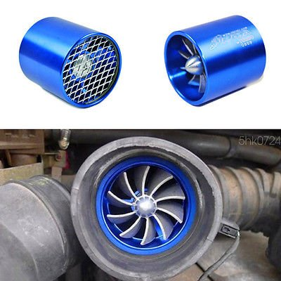 FidgetGear Blue Air Intake Turbonator Single Fan Turbine Turbo Supercharger Gas Fuel Saver