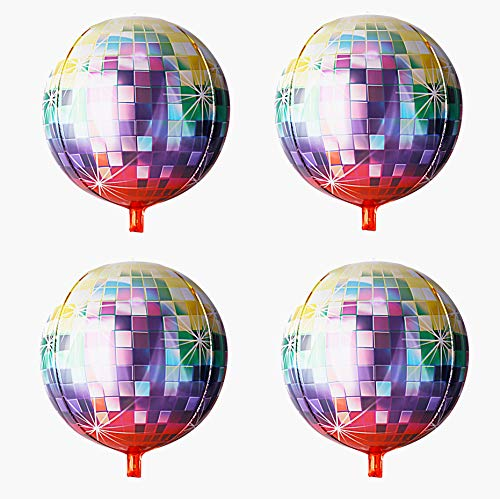 70s Retro Disco Ball Balloon Hangable 4 Count 16
