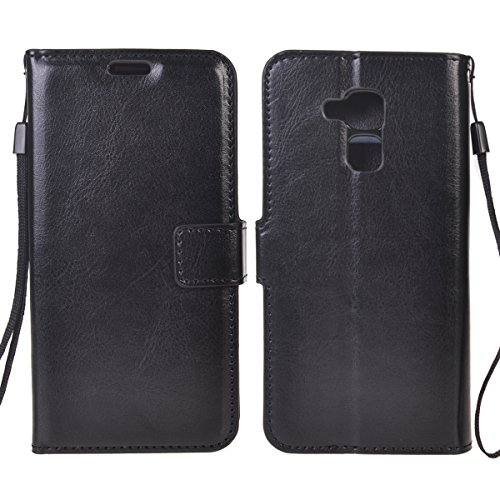 Huawei Honor 5C/ Honor 7 Lite/ GT3 Funda,COOLKE Retro PU Leather Wallet With Card Pouch Stand de protección Funda Carcasa Cuero Tapa Case Cover para Huawei Honor 5C/ Honor 7 Lite/ GT3 - Rosa Negro