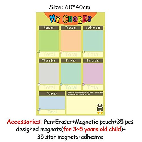 HITSAN magnetic chores chart dry erase board wall sticker kids weekly planner to do list reward chart 60 40 cm