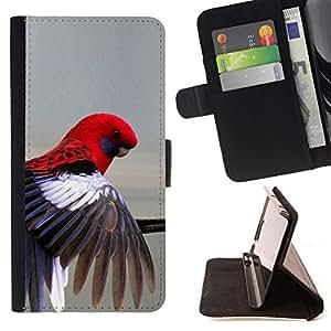 - red parrot grey pastel tropical bird feather - - Prima caja de la PU billetera de cuero con ranuras para tarjetas, efectivo desmontable correa para l Funny HouseFOR HTC One M7