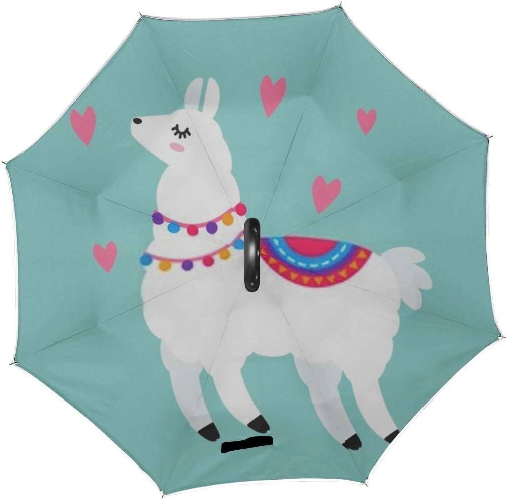 Double Layer Inverted Inverted Umbrella Is Light And Sturdy Funny Llama Alpaca Cartoon Style Isolated Reverse Umbrella And Windproof Umbrella Edge Ni