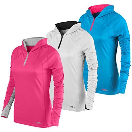 TCA Damen Leichtes Lauf-Shirt Energy - Kragen mit Kapuze und Reißverschluss - Cool Grey (Grau)/Schwarz - L