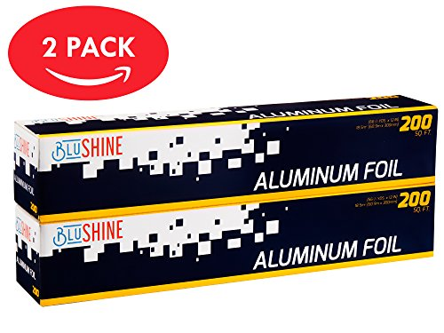 Aluminum Foil – 2-Pack of 200 Square Foot Roll - 12 Inch Silver Paper Wrap - Chemical & Toxin-Free Food Wrapping Paper - Safe for Grill - (400 Sq. (Heavy Aluminum Foil)