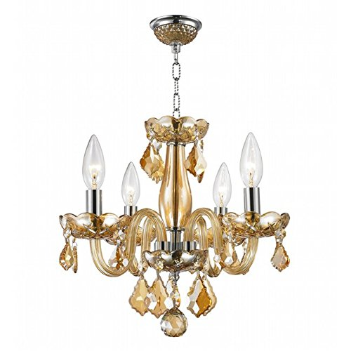 Amber Raindrop Chandelier - Deluxe 4 Light Modern Crystal Raindrop Chandelier By Ciata Décor - Contemporary Ceiling Light W/Solid Brass Frame & Light Amber Finish - Ideal For Entrance Hall, Foyer, Dining & Living Room