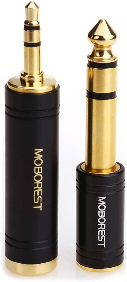 MOBOREST 3.5mm M to 6.35mm F Stereo Pure Copper Adapter, 1/8 Inch Plug Male to 1/4 Inch Jack Female Stereo Adapter, Can be Used Conversion Headphone adapte, amp adapte, Black Fashion 2-Pack