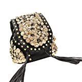 Top Shop Womens Latch Rivet Shoulder Handbags Casual Totes Backpack Hobos Black Clutches