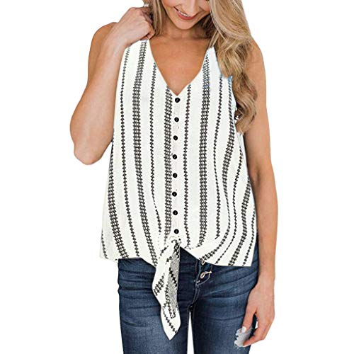 - Sunyastor Women's Summer Sleeveless Button Down T Shirts V-Neck Stripe Tie Front Knot Blouse Casual Loose Tank Tops White