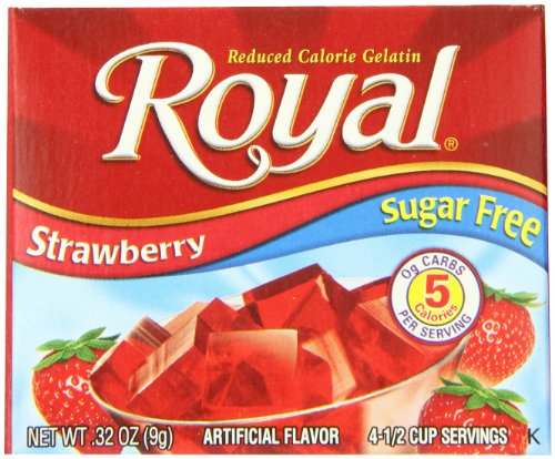 (Royal Strawberry Gelatin Dessert Mix, Sugar Free and Carb Free (12 - .32oz Boxes))
