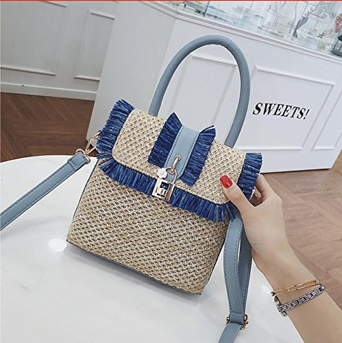 Bag Fringed Bohemian Style Meaeo Straw Lock Ladies z1wxXH