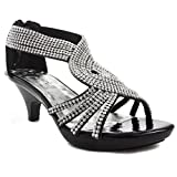 bd31b912601c49 ShoeShoe Angel Collection Womens Strappy Rhinestone Prom Dress Party ...
