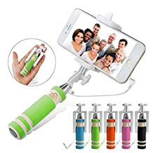 ONX3 (Green) LG G3 A Universal Adjustable Mini Selfie Stick Pocket Sized Monopod Built-in Remote Shutter