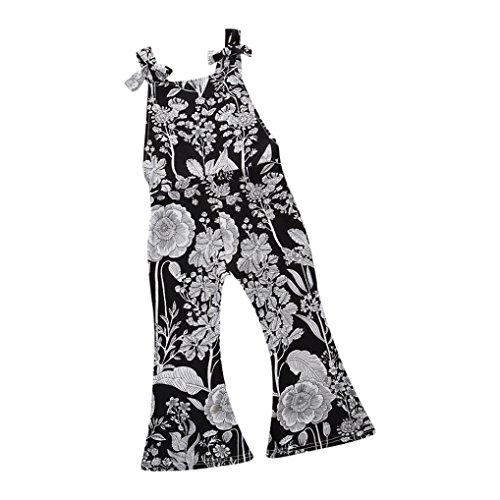 Jarsh Jumpsuit for Toddler Baby Girls, White Black Floral Printed Straps Romper Flared Pants (5T(4-5Years Old))