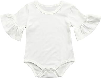 QinMM Body de Manga de Volantes de bebé niña, Camisa Tops Mono de Verano de Manga Corta (Blanco, 12 Meses): Amazon.es: Ropa y accesorios